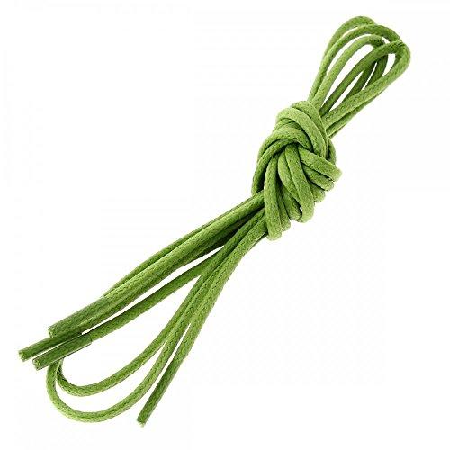 Les lacets Français Lacets Ronds Coton Ciré Couleur Vert Anis