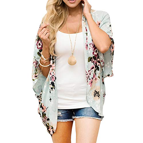Zexxxy Strandkleid Damen Cardigans Kimono Chiffon Sommer Florale Cover up Hell-Grün Medium - Floral Kimono Top