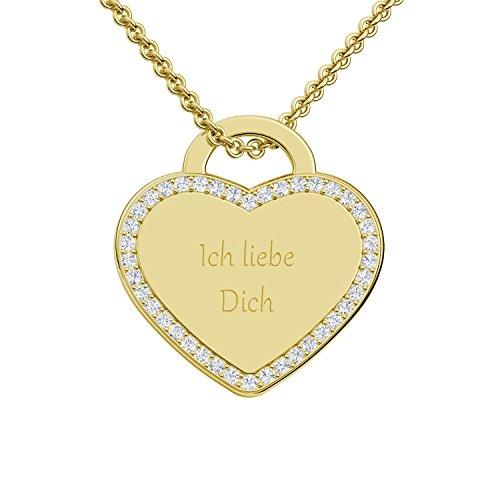 Herzkette Gold goldene Herzkette mit Gravur Gold Ich liebe Dich +39 Zirkonia Steine von Amoonic Echt Silber 925 vergoldet Gold Kette Frauen Halskette Damen Goldkette FF598 VGGGZIFA45