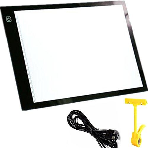 TOUCHFIVE 6mm LED Dimmbar Zeichenbrett A4 LED Zeichnen Leuchtbrett Reißbrett LED Malen Platten LED Zeichnen Pad mit Maßstab für Kinder Maler