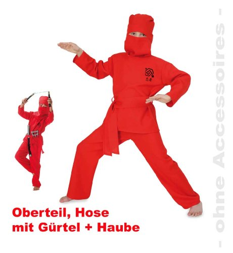 Kostüm Tanz Japan - Fries 1837 Red Ninja 2tlg. mit Gürtel und Haube Fasching Karneval Kinder Kostüm: Größe: 116