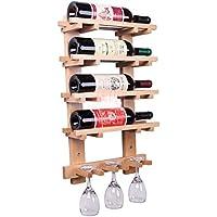 BTJJ Estante del Vino del Estilo Europeo, Barra Que cuelga el Estante Creativo del Vino de Madera, Estante del Vino montado en la Pared Creativo de la Manera