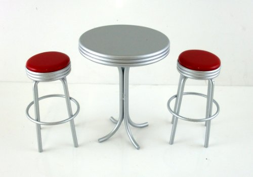 Casa Delle Bambole Cucina Bar Mobili Anni '50 Altezza Rotondo tavolo bistrò con 2 Sgabelli in rosso