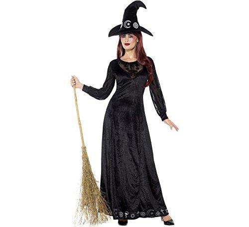 Kostüm Damen Hexerei - Smiffys Damen Deluxe Hexerei Kostüm, Kleid und Hut, Größe: 44-46, 48015
