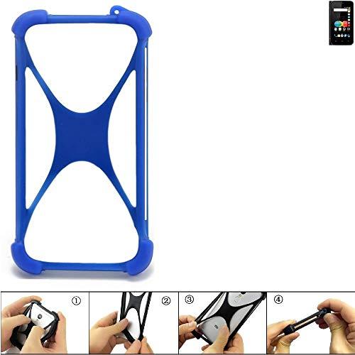 K-S-Trade Bumper für Allview P4 eMagic Silikon Schutz Hülle Handyhülle Silikoncase Softcase Cover Case Stoßschutz, blau (1x)