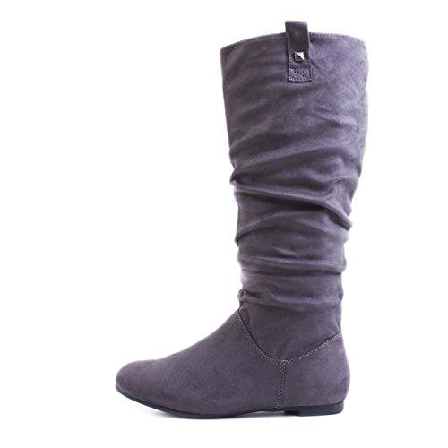 Trendige Damen Hochschaft Stiefel Schlupf Boots in Lederoptik Grau Wildlederoptik