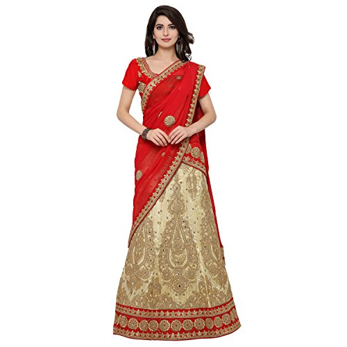 Sheknows Raw Silk And Chiffon Beige And Red Color Lehenga Choli