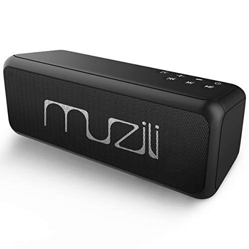 Bluetooth Lautsprecher Muzili Tragbarer Bluetooth Speaker mit Stereo Sound und Dual-Treiber Kabelloser Musikbox mit reinem Bass eingebautem Mikrofon 10 Stunden Spielzeit für IOS Android- Schwarz Wasserdichte Stereo-lautsprecher