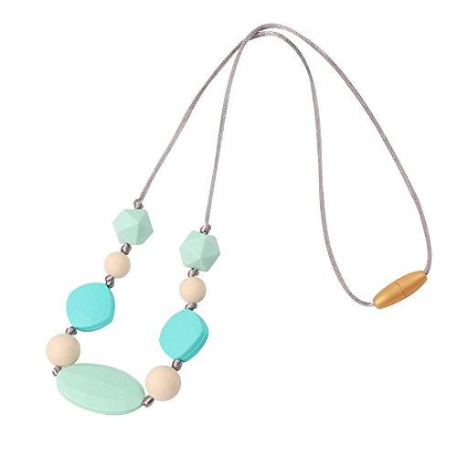 TYRY.HU Baby Zahnen Halskette für Mama zu tragen BPA frei Lebensmittelqualität Silikon Silikon kaubare Perlen Greiflinge zum Stillen Pflege handgemachtes Geschenk (Türkis)