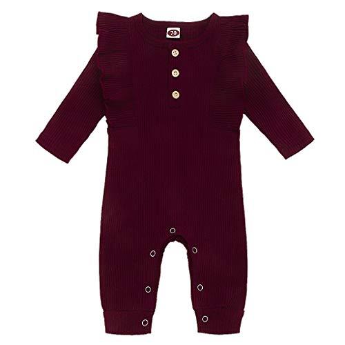 Livoral Neugeborener Babyoverall, gekräuselter Overall des einfarbigen Knopfes des Babys und des Mädchens(Wein,6-12 Monate)