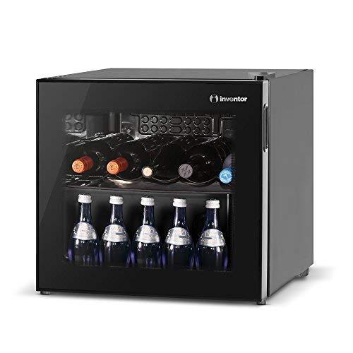 """La nevera para vinos Inventor """"Vino"""" de 43L, le permite disfrutar de su vino favorito en la temperatura adecuada, de una cerveza fría o incluso de un refresco de su elección.   Midiendo solamente 48cm (Ancho) x 44cm (Largo) x 49.2cm (Alto), pero c..."""