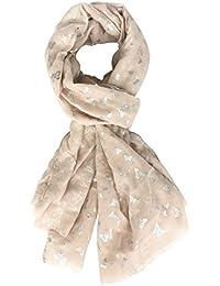 807acad9f4be DAMILY Femmes Argent Plume Paillette Imprimé Écharpe Foil Print Foulard  Wraps Daily Châle Rose Gris