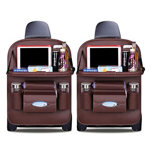 Ergocar Auto Organizer Rückenlehnenschutz Luxus Autositzschutz aus PU-Leder mit faltbarem Tablethalter wasserdicht Rückenlehnenschutz Rückenlehnen-Tasche für Kinder (Mokka - 2 Pack)