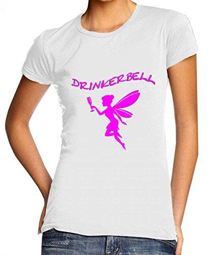 Drinkerbell Trinkerfee Fee Bell Partyshirt Sprücheshirt Girly Mädchen T-Shirt Shirt S-2XL Schwarz, Pink, Weiss (M, Weiss) (T-shirt Bell Mädchen)
