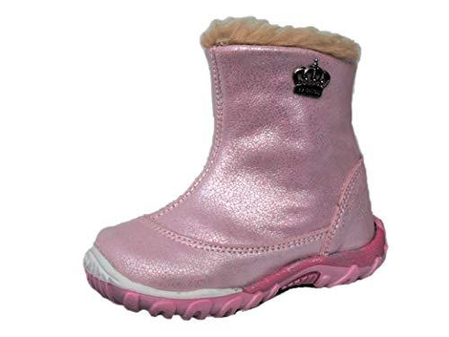 ennellemoo® Mädchen-Baby-Kinder-Stiefel-Stiefeletten-Schuhe aus echt Leder-Vollleder mit warmen Kunstfell-Reiß + Klettverschluss – Ultralight.Premium Shoes! (23 EU, Pink-Glitzer)