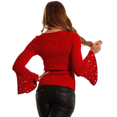 Damen Pullover mit Trompetenärmel und dekorative Perlenverzierung Rot