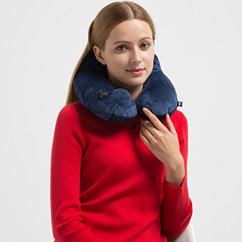 Metene Travel Neck Pillow Luxuriously Soft Inflatable with Velvet for Sleeping on Airplanes, Car, and Train.