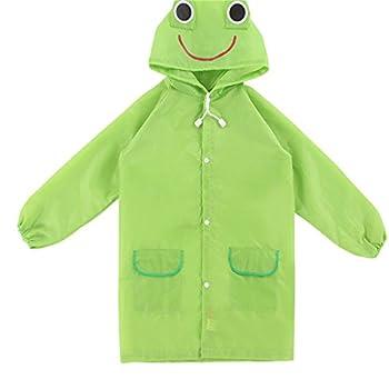 Aelegant Unisex Kinder Jungenmädchen Süße Cartoon Form Regenmantel Wasserdicht Regenjacke Mit Kapuze Softshelljacke Regenponcho (One Size, Grün Frösche) 0