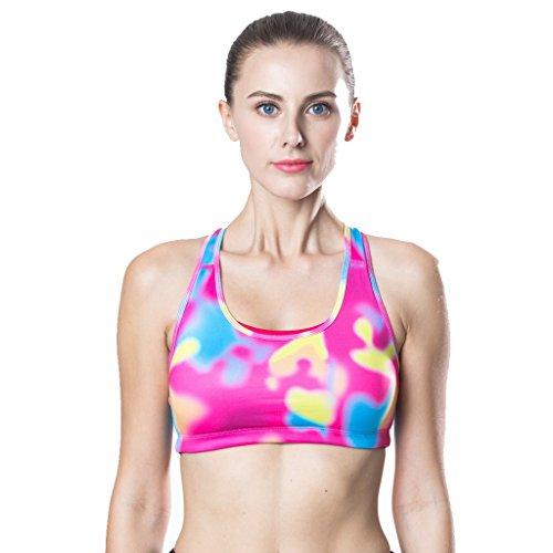 Soutien-gorge de sport Strong Hold Up Push Up Bustier Stretch Sports Bra Top pour Yoga Fitness Workout Loisirs Vêtements de course Sportswear Rose