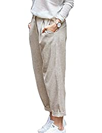 Hibote Pantalones Verano Mujer Cintura Alta Pantalones Lino con Cordón  Pantalones Playa Pantalones Sueltos Color Sólido 7 8 Longitud Casual… 065893c62407
