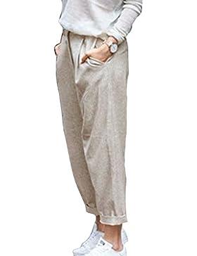 Pantalones Verano Mujer Cintura Alta Pantalones Lino con Cordón Pantalones Playa Pantalones Sueltos Color Sólido...