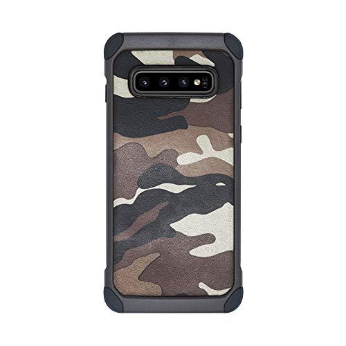 Case kompatibel Samsung Galaxy S10 / S10 Plus, TPU + Hart PC 2-in-1 Military Tarnmuster Camouflage Hülle 360-Grad Stoßfest Anti-Fall Schutzhülle Handyhülle kompatibel Samsung S10e (Braun, Galaxy S10)