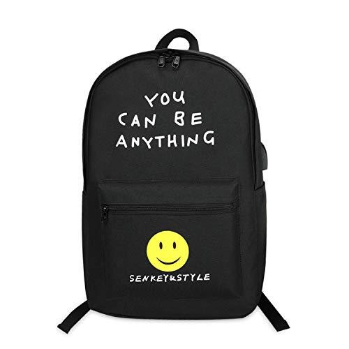 FANDARE Schulrucksack Teenager Rucksack für Herren/Damen Kinderrucksäcke Reise Daypack Schultasche mit USB Polyester Schwarz A
