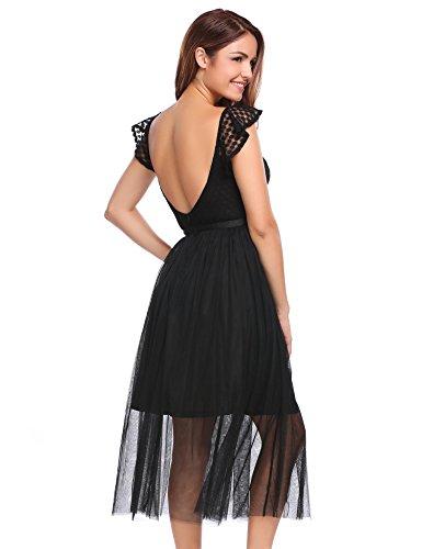Meaneor Damen Chiffon Kleid sexy Spitzenkleid Sommerkleid Partykleid V-Ausschnitt mit Rüschenarm