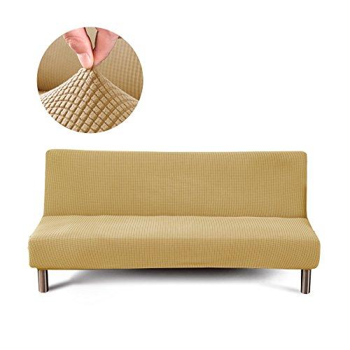Cornasee Jacquard Sofabezug 3 sitzer ohne armlehne - elastisch gestrickte Schonbezug Sofahusse für Schlafsofa/Clic Clac, Beige