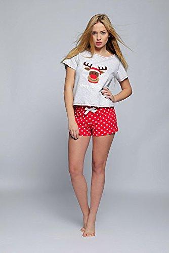SENSIS weihnachtlicher Pyjama Schlafanzug Hausanzug mit niedlichem Rentier-Print aus 100% Baumwolle Grau, Shorty