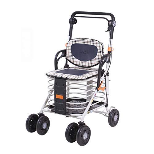 Rollwagen Einkaufswagen, Altmodische Lebensmittel, Können Einen Trolley Ältere Roller Allrad Walker Home Aluminiumlegierung Faltenden Einkaufswagen Tragende 100kg Nehmen Rollwagen