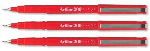 artline-200-fineliner-pen-water-based-ink-04mm-tip-04mm-line-red-ref-a2002-pack-of-12