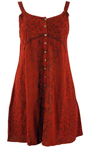 GURU-SHOP, Vestido Indio Bordado, Mini Vestido Boho, Rojo Oxido, Diseño 23, Sintético, Tamaño:40, Vestidos Cortos
