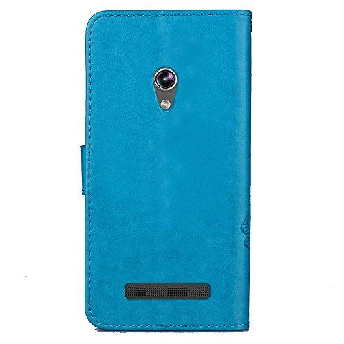 Double Magnetic Back Sucktion Retro Style PU Leder Flip Stand Case mit Kickstand und Wallet Beutel Funktion für Asus Zenfone 5 ( Color : Gray ) Blue