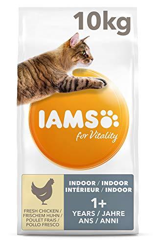 IAMS for Vitality Adult Katzenfutter trocken für Wohnungskatzen mit frischem Huhn 10kg