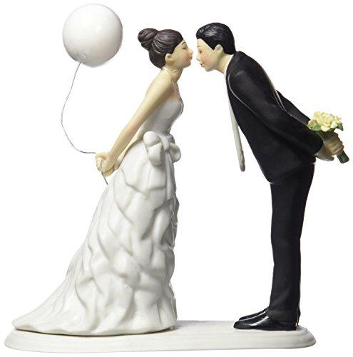 Tortenfigur Tortenaufs atz Tortendekoration Hochzeit - Leaning in for a Kiss - Balloon Wedding Cake Topper - 9476