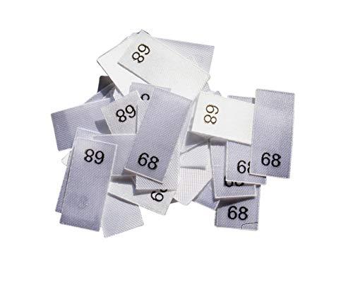 Hödtke Vertrieb 25 Textiletikettenetiketten in verschiedenen Ausführungen von Größe 34 bis 176 auf Polyesterband (68)
