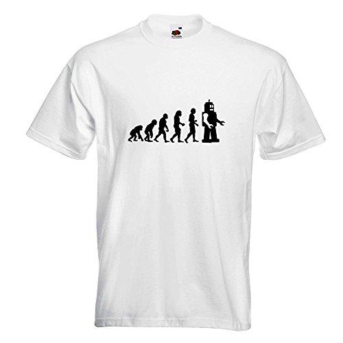 KIWISTAR - Evolution Roboter T-Shirt in 15 verschiedenen Farben - Herren Funshirt bedruckt Design Sprüche Spruch Motive Oberteil Baumwolle Print Größe S M L XL XXL Weiß