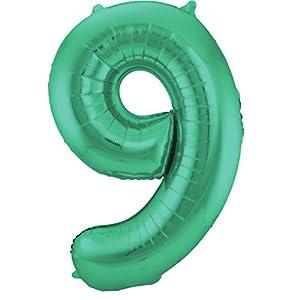 Folat Globo Verde metálico Mate con número 9 - 86 cm