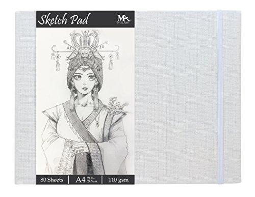 Cuaderno de Dibujo A4 de 80 Hojas - Gramaje de 110 gr y Tapa Dura de Lino - Sketch Pad - Bloc de Dibujo Ideal para Ilustraciones, Bocetos de Diseño de Modas y Más - MozArt Supplies