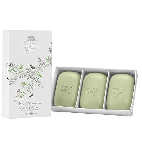 Woods of Windsor White Jasmine Fine English Soap 3 x