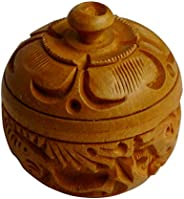 Sri Arundhathi Handicrafts Wood Kumkum Box (5 x 5 x 5 cm, Brown)