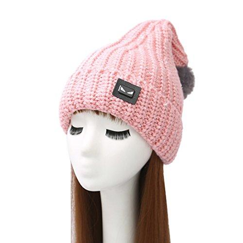 Kuyou mode chapeau d'hiver femme Noël Bonnet tricot Rose