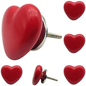 Decokrafts Pack of 6 Pcs Red Heart Shape Ceramic Knobs for Cabinets and Drawer