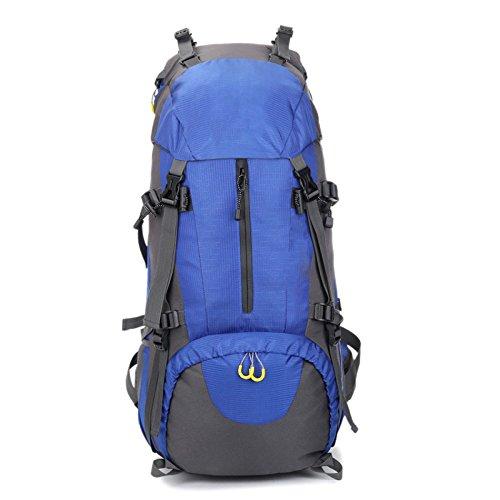 Mountain Bag Bergsteigen Klettern Rucksack Für Männer Bergsteigen Bag Waterproof Outdoor Rucksack Regendicht 60L,Blue-OneSize (Zahnbürste Erste-hilfe-kit)