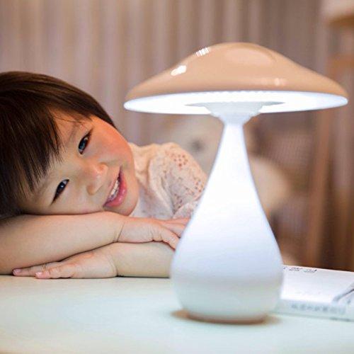 CLG-FLY Computer di tavolo led ricaricabile lampada occhio studio camera da letto lampada da comodino studente USB lettura luce lampada fungo notte luce lettura purificazione dell'aria purificatori d'aria lampada,Universale di ricarica bianca luce +
