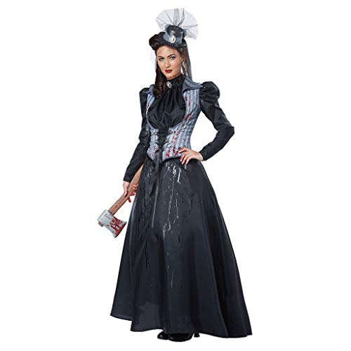 Hexe Mädchen Kostüm Für Teenager - Lomelomme Halloween Kostüm Cosplay Hexe Kleid Vintage Langarm Horror Ghost Bride Zombie Blutiger Vampir Teufel Kostüm Bar Party Bühnenkostüm