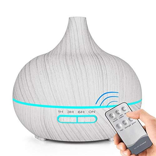 Ultraschall 400 ml Elektrische Luftbefeuchter Aromaöl Diffusor Holzmaserung Fernbedienung 7 Lichter Aromatherapie Nebel EU Hellgrau