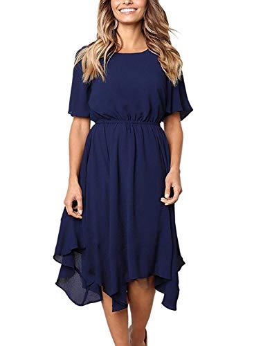 Ancapelion Damen Kleider Chiffon Blau Sommerkleid Kurze Ärmel Empire Abendkleid Lässiges Cocktailkleid Ungefüttert Midi Kleid Unregelmäßiger Saum