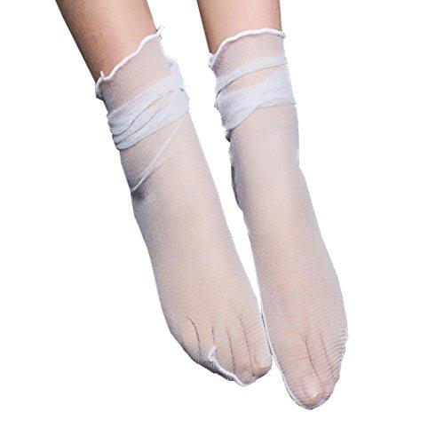Xmansky Damen 1 Paare Kurz Netzstrumpf Kristall Spitze Socken Söckchen Transparente Lace Strumpf Gothic Schwarz (Weiß) (Weiß Dot Trim Lace Schwarz)